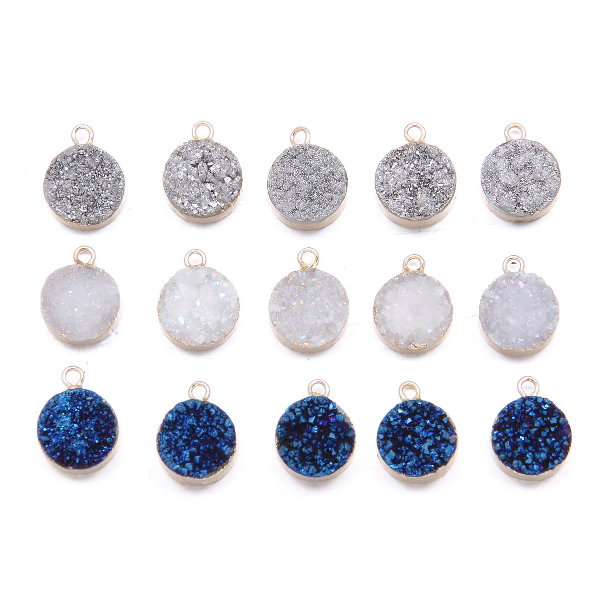 Piedra Natural brasileña rebanada gris azul y blanco ágata colgante para collar mujeres fabricación de joyas