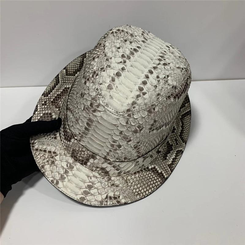 أصيلة الحقيقي بيثون جلدية شهم شيك Porkpie الرامي قبعة الطاقيه شقة غريبة حقيقية غريبة الثعبان الذكور الجاز كاب