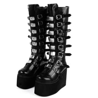 womens knee length martin boots solid color metal decorative platform waterproof snow boots comfortable outdoor womens boots