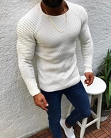 men fashion knitted pullover male solid color o neck striped long sleeve sweater spring winter slim fit casual sweater