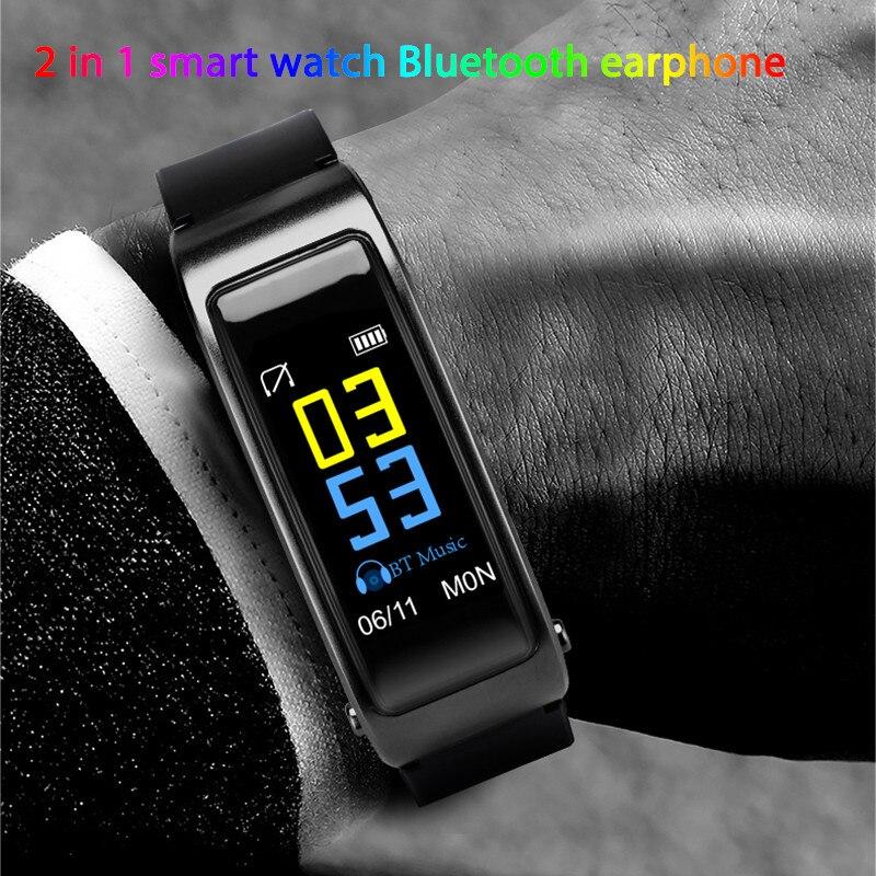 Reloj inteligente con auriculares bluetooth Y3 2 en 1 para hombre, reloj inteligente, monitor de ritmo cardíaco, podómetro, llamadas de teléfono recordatorios