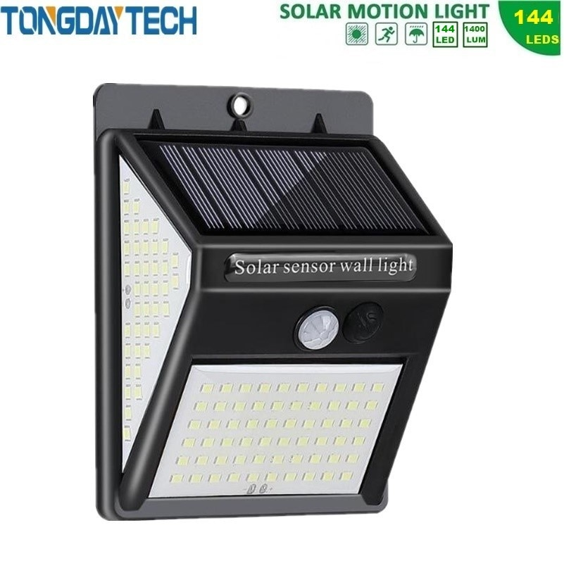 Luz Solar LED TONGDAYTECH 144, lámpara Solar para exteriores, Sensor de movimiento PIR, luz de pared, luz Solar para jardín a prueba de agua IP65