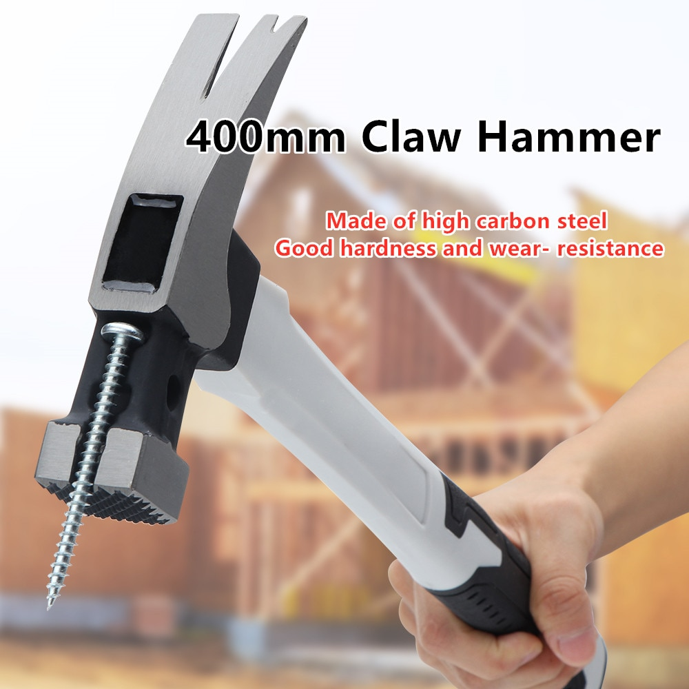 400MM Handle Claw Hammer For Professional Carbon Steel Woodworking Striking Tool Hand Hammer Non-slip Multi-function Home Tools round head plastic handle magnetic claw hammer for woodworking and electronic tool mini hammer rubber hammer tool