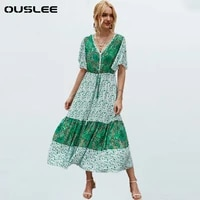 ouslee new bohemian style floral printed dress women v neck button short sleeve summer boho dresses chic loose casual maxi dress