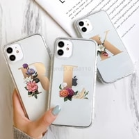 case for iphone 11 12 pro max letters a z cases for iphone xs max x xr 7 8 plus 6 6s iphone12 mini capa shell flower funda cover