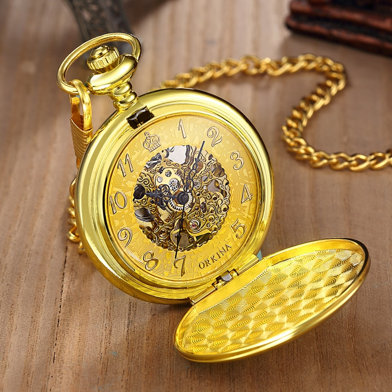 Golden Sliver Smooth Automatic Mechanical Pocket Watch FOB Chain Hand Winding Hollow Pocket Watch For Men Women