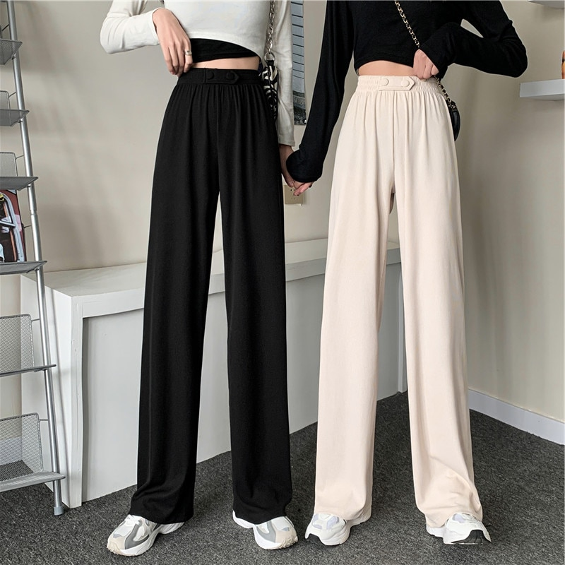 Large Size Wide-Leg Pants for Women Spring High Waist Drooping Casual Mopping Pants Slimming Korean