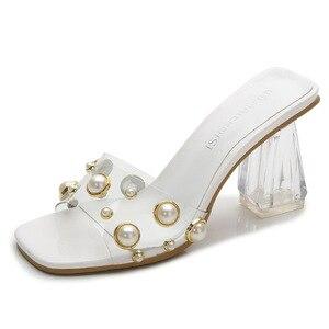 New Block Heel Large Size Square Toe Sandals, Rhinestone Women's Slippers, Transparent Heel Sandals