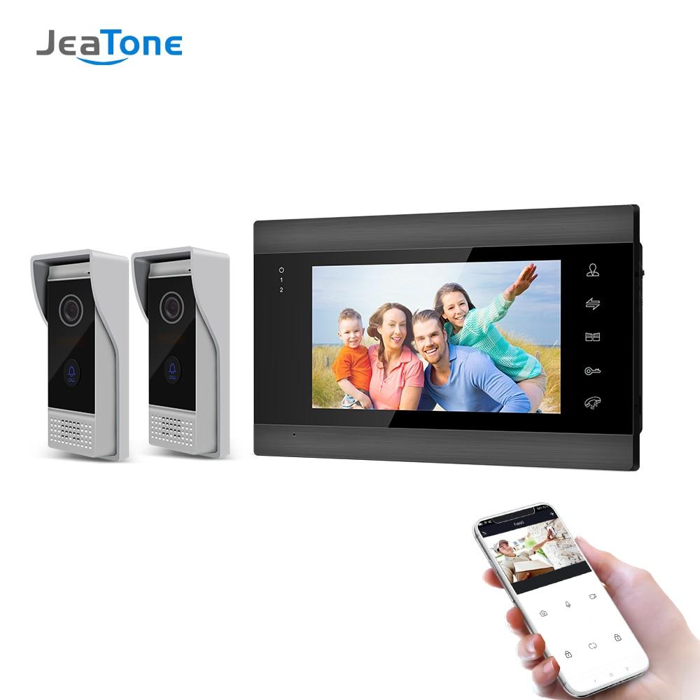 Jeatone 7 pulgadas WiFi timbre de Video de IP portero automático para hogar con Monitor de visión nocturna + 2 x Cámara impermeable del teléfono de la puerta,