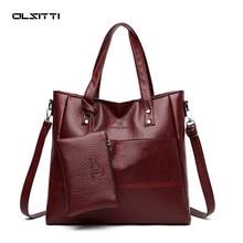 2 Pcs. Womens Handbags Luxury Solid Color Zipper Shoulder Bags for Women 2021 Soft Pu Leather Portab