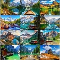 MomoArt     peinture de diamant 5D a faire soi-meme  strass de montagne  broderie artistique  paysage de lac  points de croix  Kits de decorations pour la maison