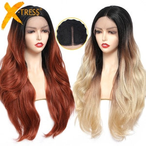 Synthetic Lace Front Wig Middle Part Long Body Wave Soft Hair Wigs For Black Women Nautral Wavy Cosplay Daily Lace Wig X-TRESS