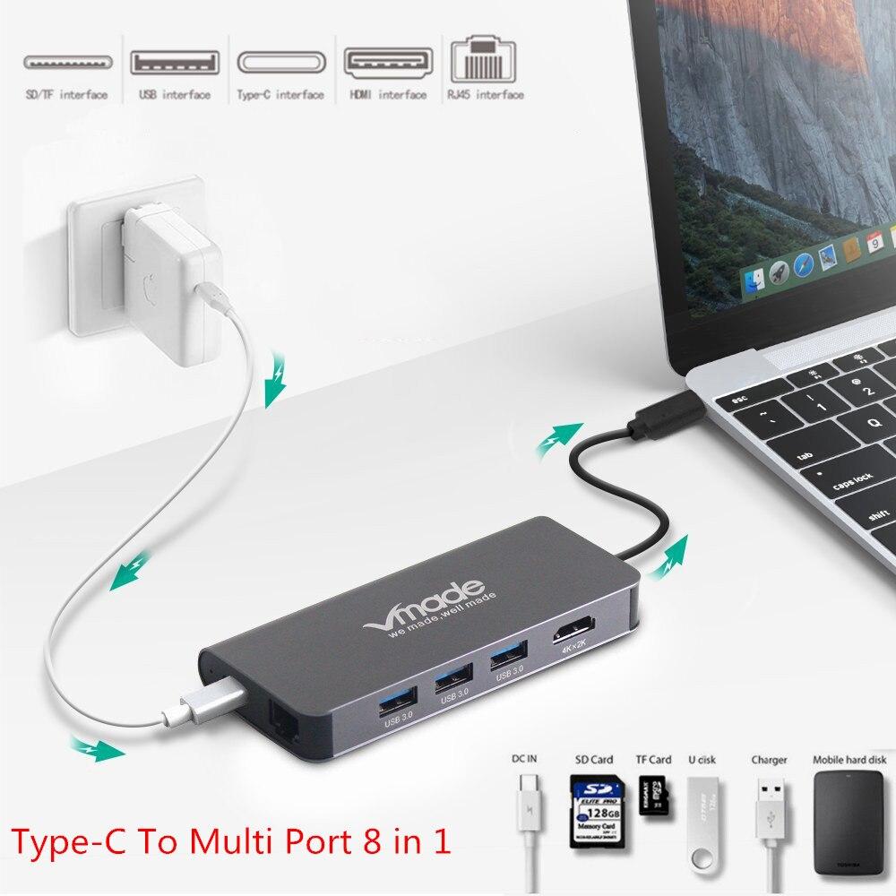 USB C HUB Type C To Multi Port 8 in 1 USB 3.0 HUB HDMI Adapter Dock 4K Thunderbolt 3 TF/SD Reader Slot PD Port Type C Hub