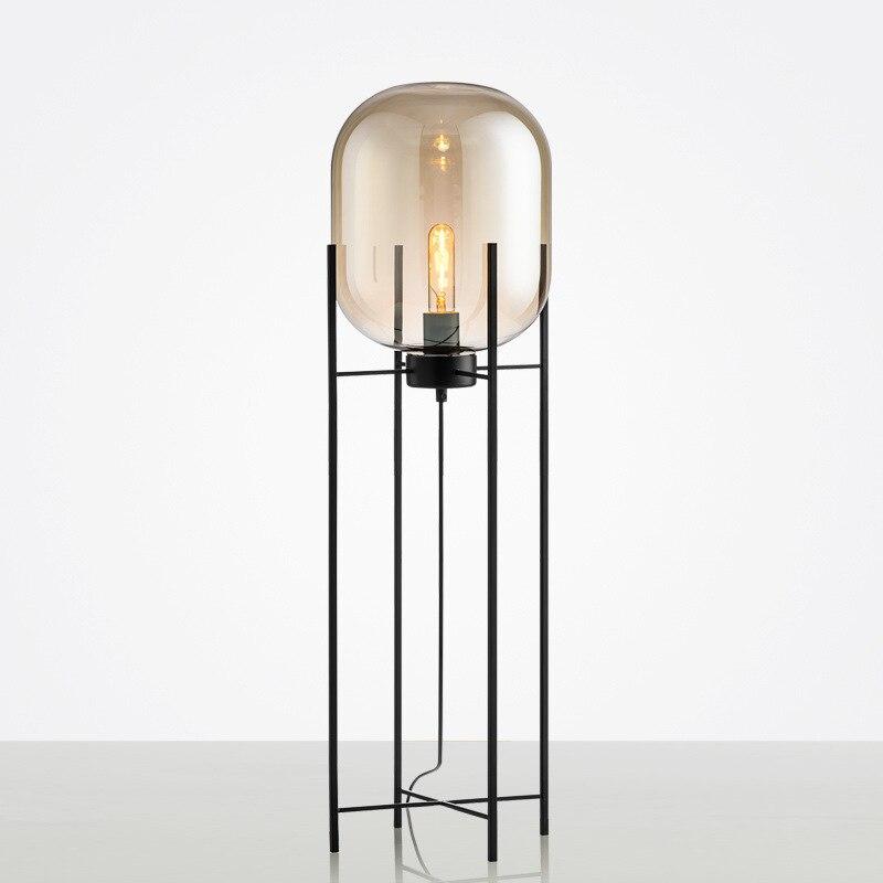 fumaca moderna lampada de assoalho vidro cinza industrial quatro tripe sala estar