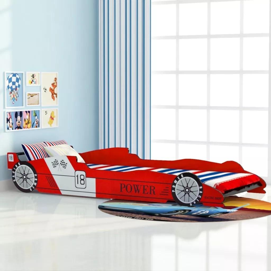 Cama de coche de carreras para niños VidaXL de 90x200 Cm, coche de dibujos animados rojos, cama infantil Sharpe, fácil montaje para dormitorio, muebles para el hogar