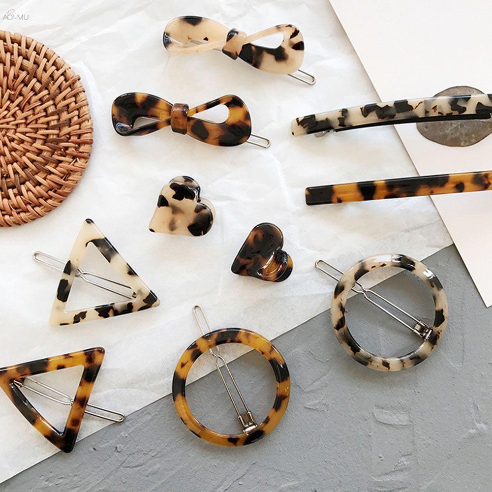 Quente 5 estilos 2 cores opcionais leopardo âmbar franja clipe moda geométrica acrílico grampo de cabelo para meninas acessórios de cabelo