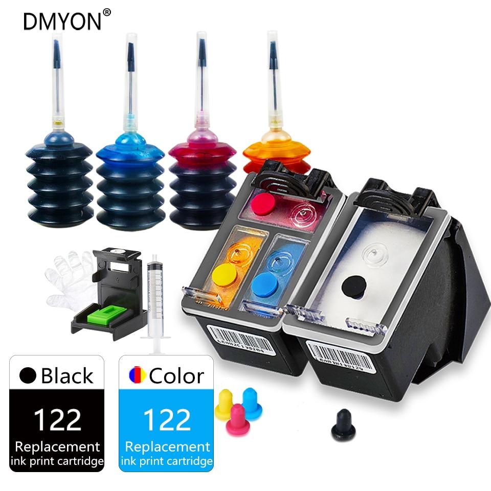 DMYON 122 XL Refill Ink Cartridge Replacement for HP 122 Deskjet 1000 1050 2000 2050 2510 3000 3054 4500 4630 4632 5530 Printer