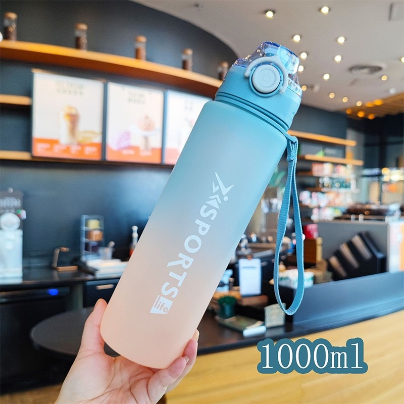 1L Large Capacity Water Bottle With Capacity Marker Jugs Gradient Color Plastic Cups Outdoor Frosted