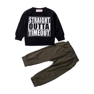 Summer Causal Newborn Kids Baby Boys 0-4T 2PCS Sets Letter Print Short Sleeve Tops T-shirt Pants Leggings Outfit