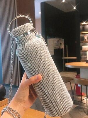 500 مللي الماس الإبداعية زجاجة ماء تُرمس كوب حراري فنجان القهوة القدح مكنسة من الفولاذ المقاوم للصدأ قارورة القدح زجاجة معزولة هدية