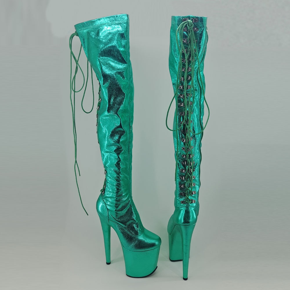 Leecabe  Green 20CM/8inches Pole dancing shoes High Heel platform Boots closed toe Pole Dance boots