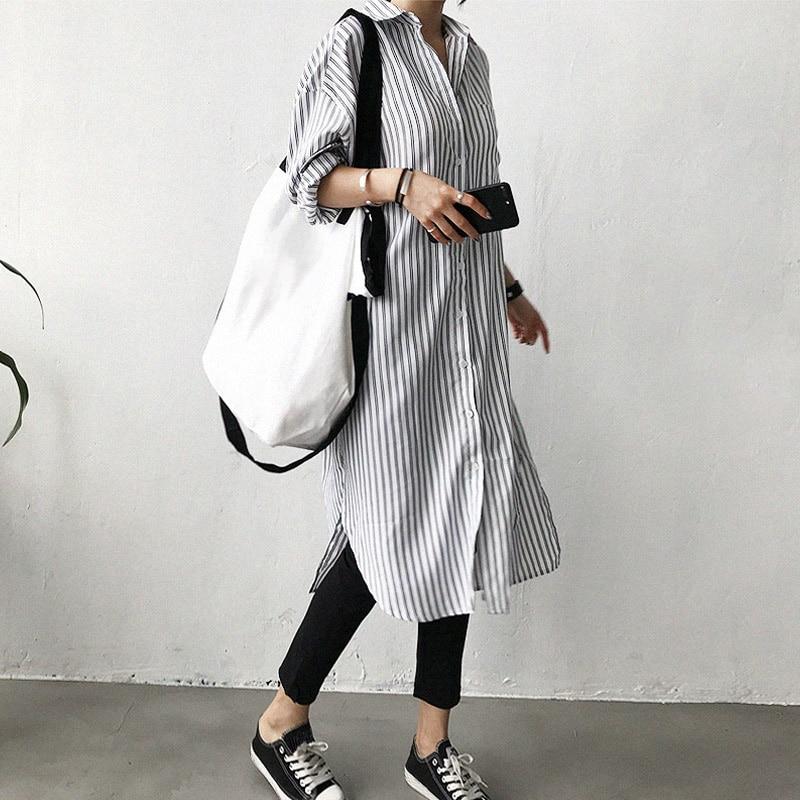 Vestido ANSELF para mujer, con cuello doblado, hombro caído, manga larga, bolsillo, abertura lateral, vestido holgado de una pieza, camisa con estampado a rayas, vestido