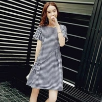 dress short sleeve plaid summer dress new fashion loose thin linen medium length skirt