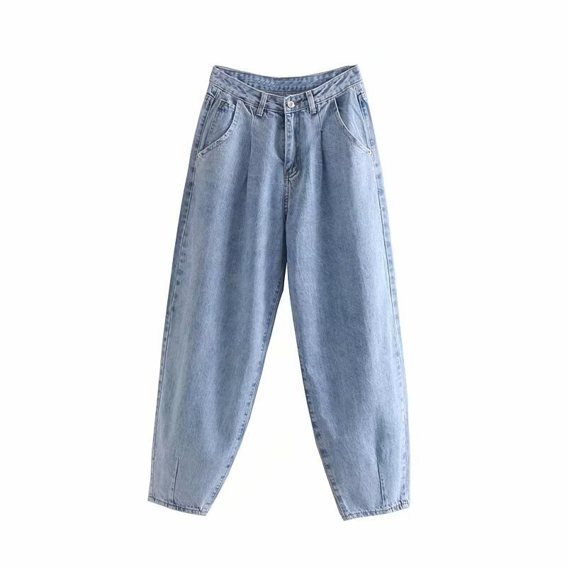 Pantalones vaqueros holgados azules de Harem para mujer, vaqueros para mamá, vaqueros de cintura alta a la moda de calle para novios, pantalones vaqueros largos lavados para mujer, Vaqueros holgados