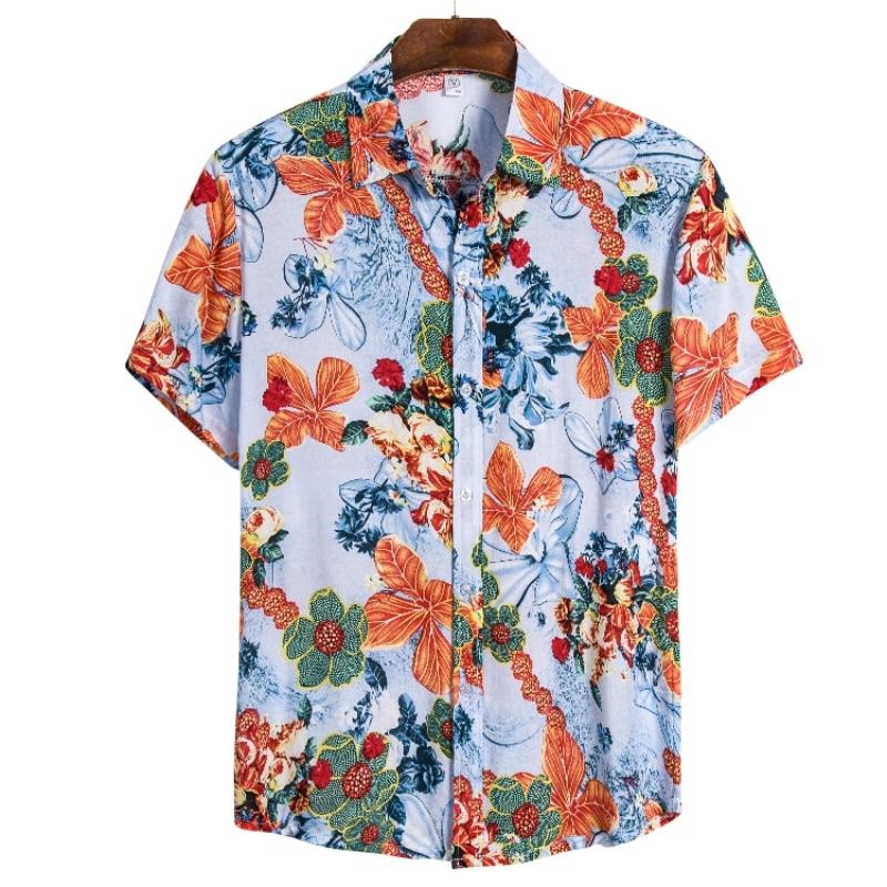 Туан. Высококачественные летние новые мужские Гавайские пляжные рубашки с цветами, мужские рубашки из шелка и хлопка с коротким рукавом