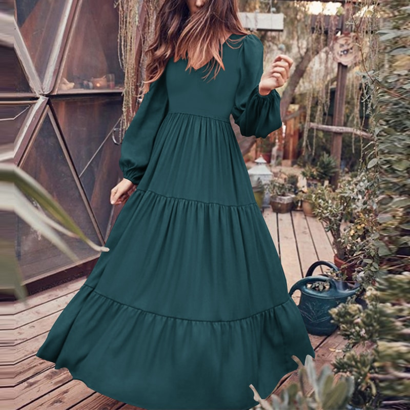 Zanzea 2020 elegante plissado maxi vestido casual puff manga túnica vestidos femininos sólidos robe feminino outono vestido plus size 5xl