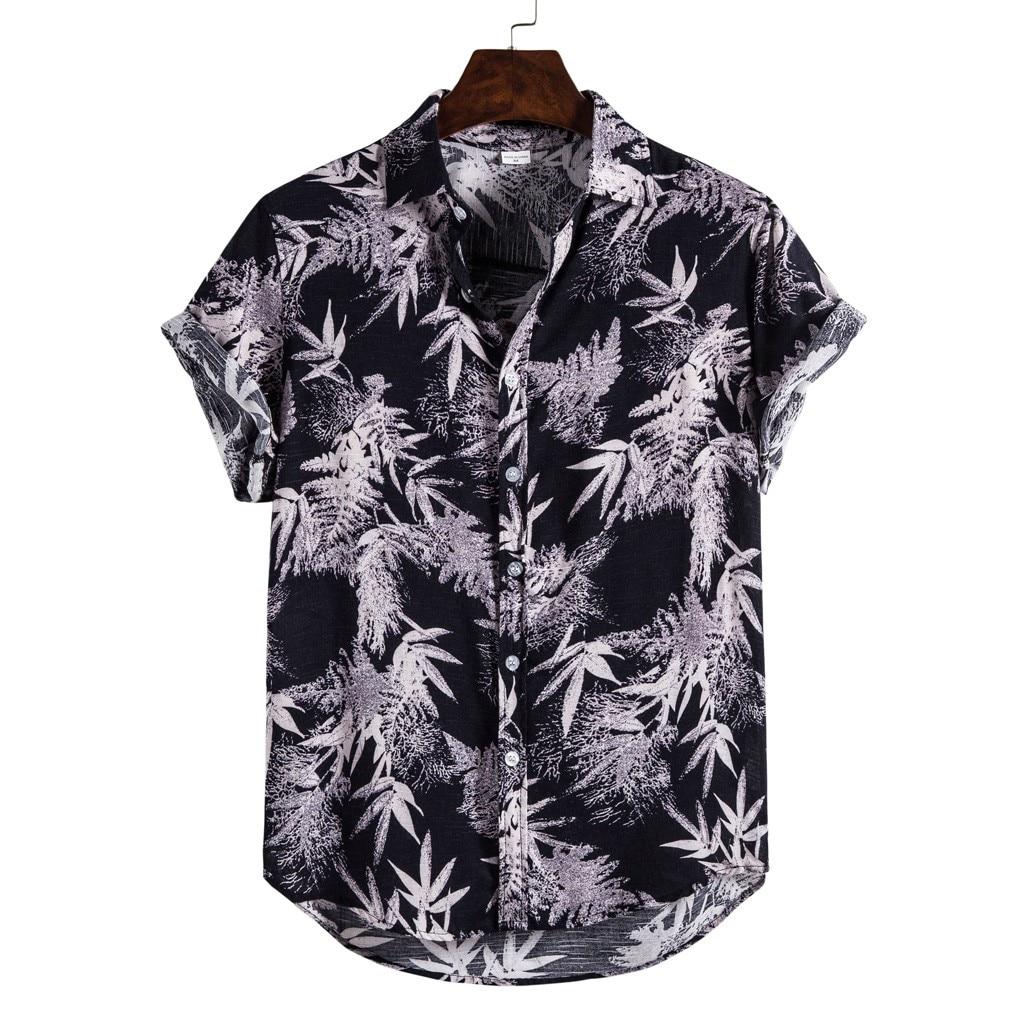 Camisa havaiana dos homens summr de linho superior étnico manga curta casual folhas impressão blusa turn down collar camisa legal chemise homme