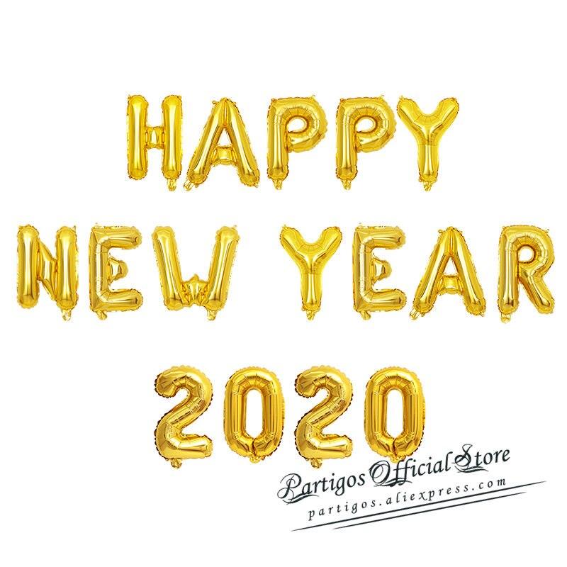 Globos de Feliz Año Nuevo 2020, globos de papel de aluminio de oro rosa, decoración de fiesta de año nuevo, Navidad 2020, decoración con globos globals