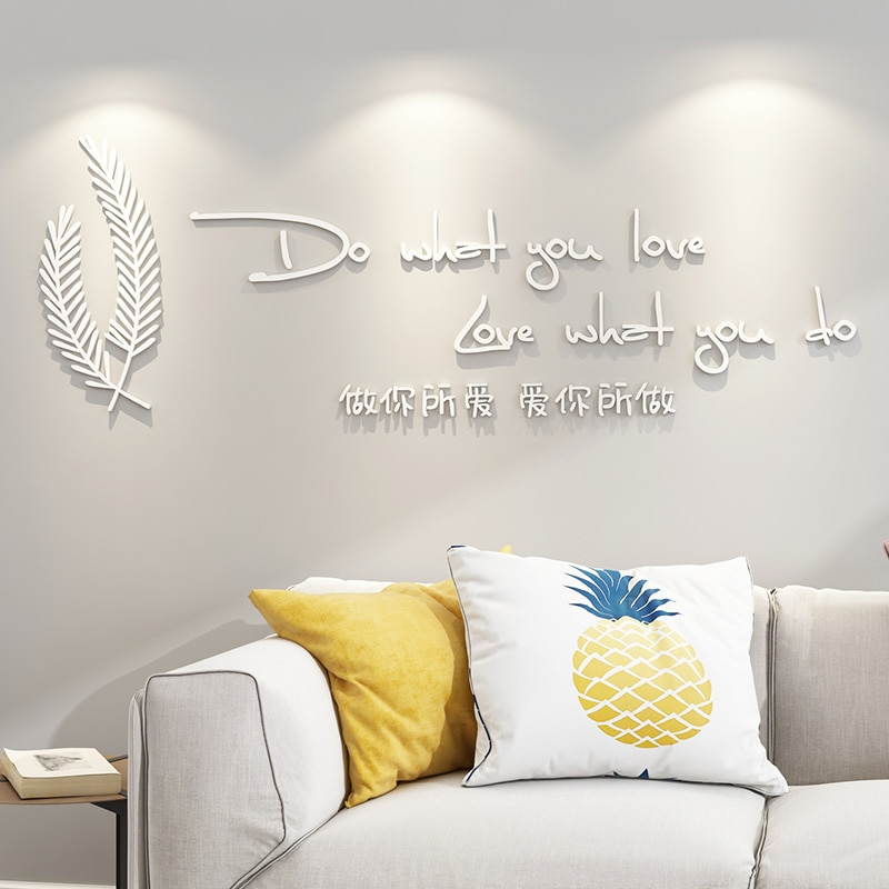 Black White Letters Feather Wall Stickers For Living Room Sofa Background Art Decor Quality Acrylic 3D Wallpaper Decal DIY Wall