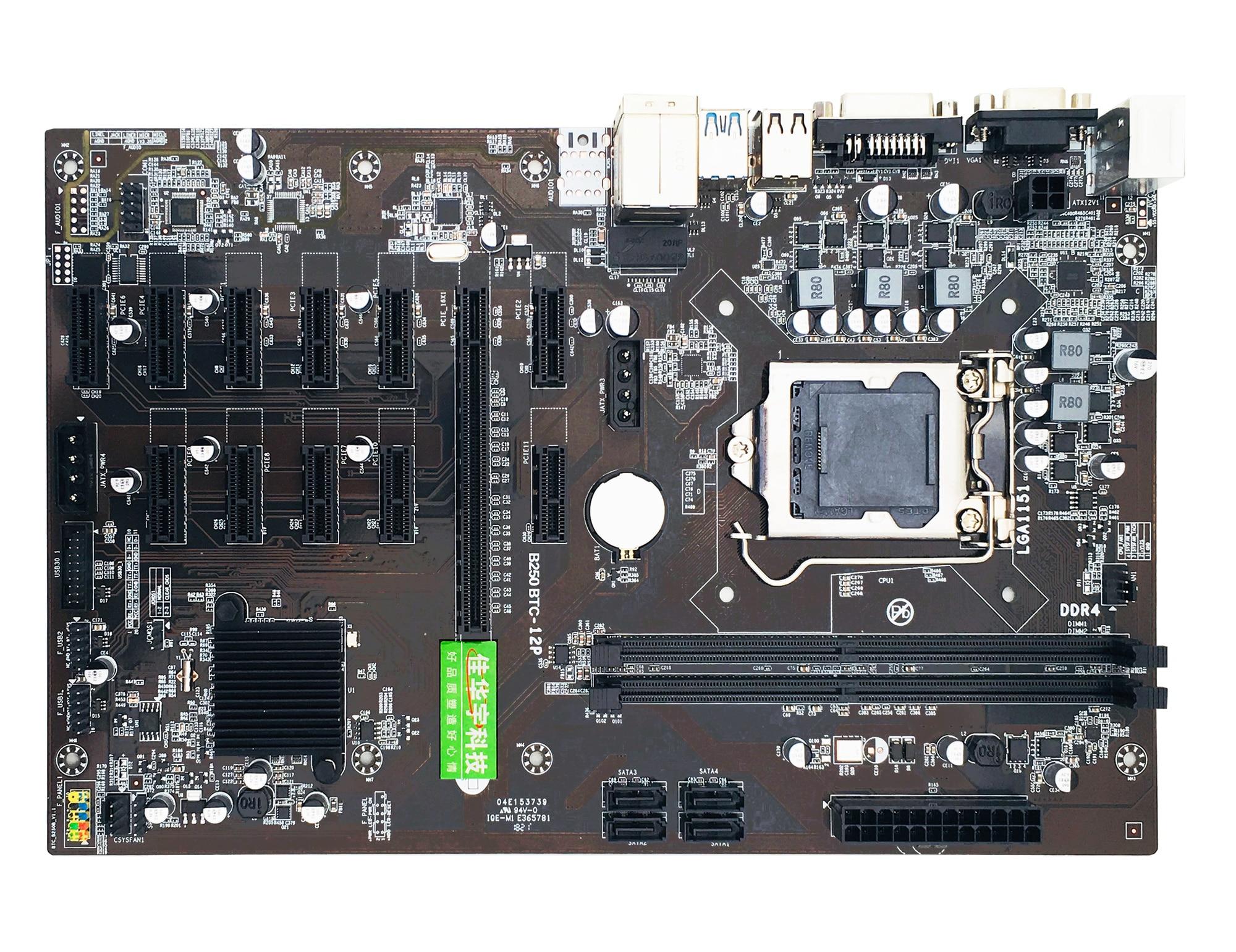 New B250 BTC Mining Machine Motherboard 12 16X Graph Card SODIMM DDR4 SATA3.0 Support VGA Compatible A08 21 Dropship enlarge
