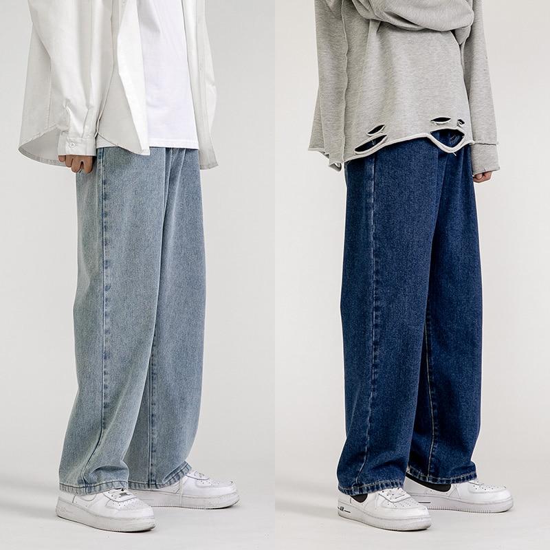 Men's Jeans Fashion Loose Straight New Casual Wide Leg Pants Cowboy Mans Streetwear Korean Hip Hop Trousers 5 Colors