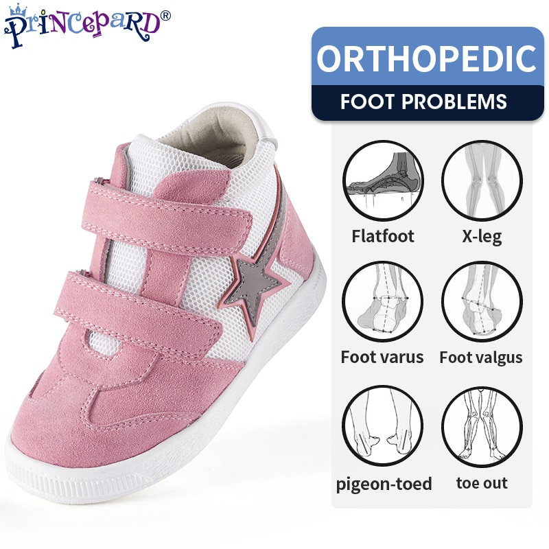 Princepard Children Orthopedic Shoes Sneaker Adjustable Strap Corrective Casual Shoes with Ankle Sup