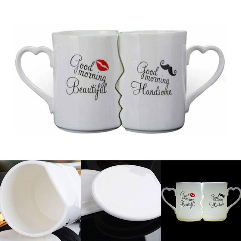 2 unids/set parejas Taza de cerámica beso regalo Día de San Valentín regalos de boda, Navidad J8