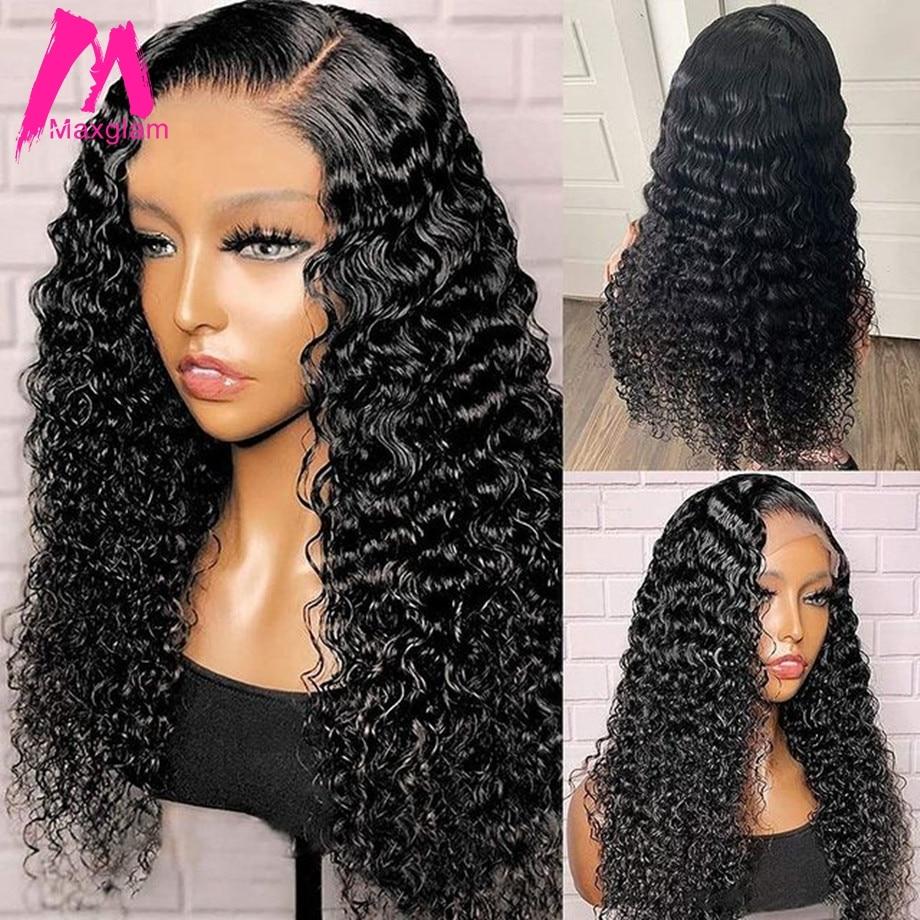 30 polegada onda de agua peruca dianteira do laco encaracolado peruca cabelo humano