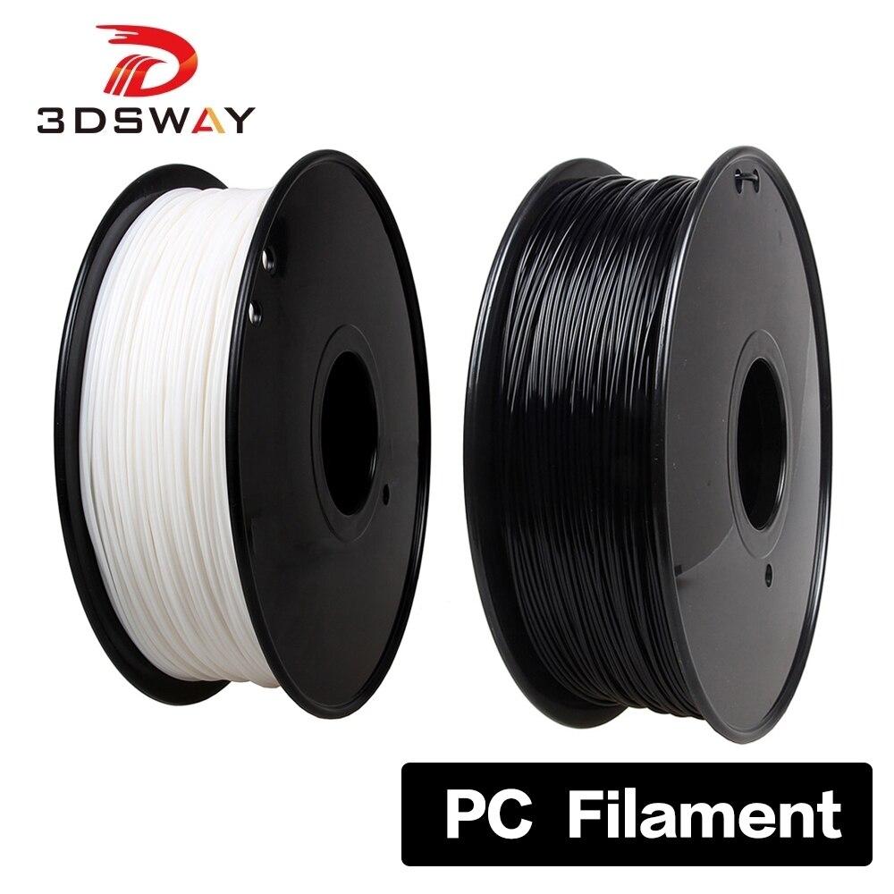 Preto dos Consumíveis da Dureza do Policarbonato do Filamento 1kg do pc 1.75mm de 3dsway para as Multi-cores da Impressora Material Transparente Branco 3d