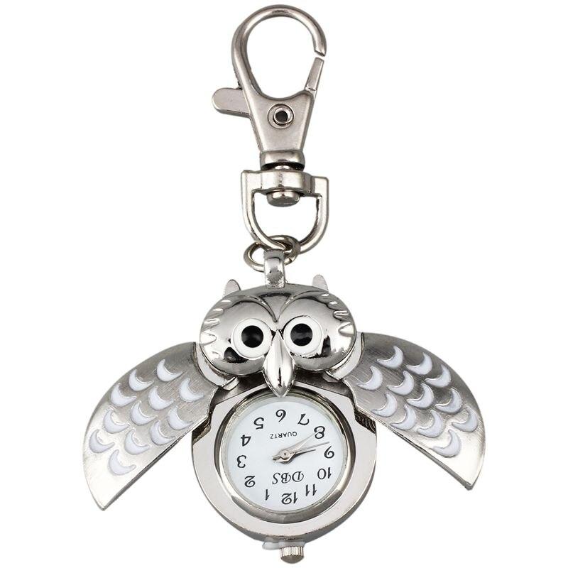 Zegarek kieszonkowy sowa z breloczkiem 40x25mm srebrny