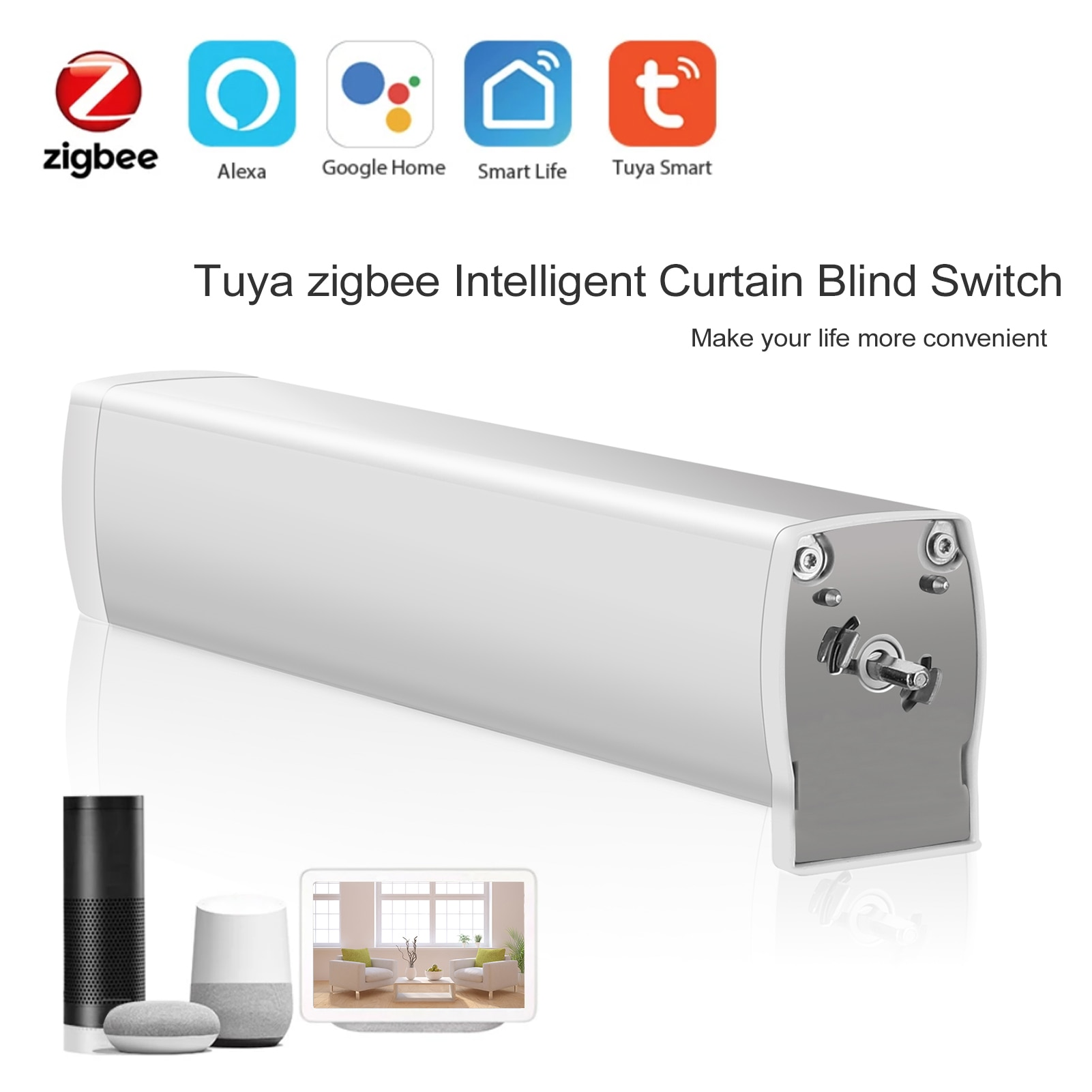 Tuya ZigBee-مفتاح ستارة ذكي ، بكرة كهربائية بمحرك ، متوافق مع Alexa Google Assistant IFTTT