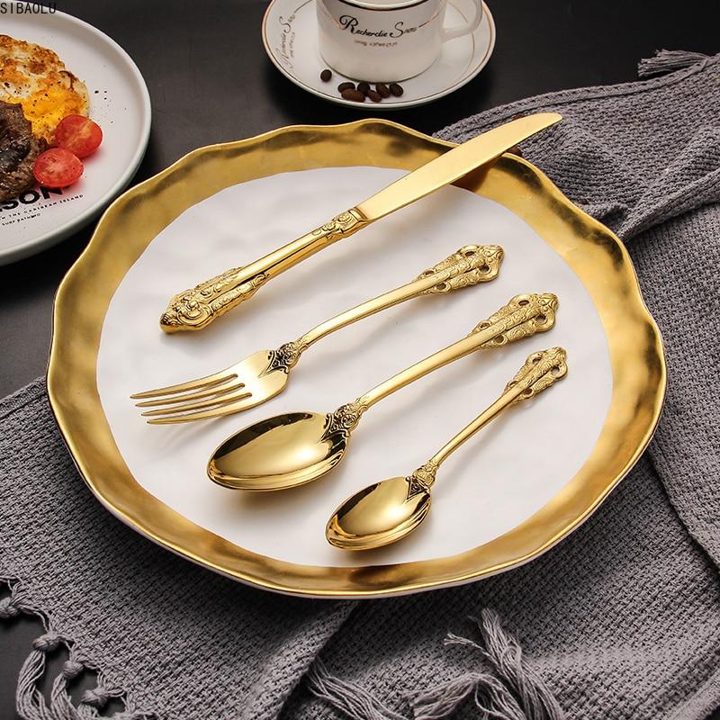 أدوات مائدة فاخرة, طقم أدوات مائدة مكون من 24 قطعة/المجموعة باللون الذهبي الفضي وطقم فضي وأخر وملاعق وشوك وسكاكين فضية