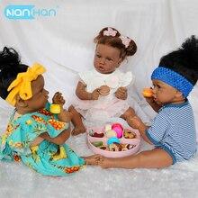22 noir Reborn bébé poupée 55CM réaliste nouveau-né poupées tissu corps doux Silicone vinyle filles jouets Bebe Boneca Reborn poupée