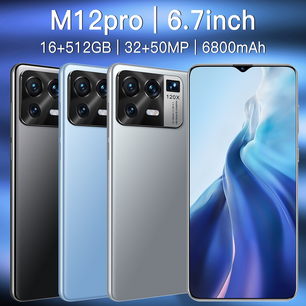 New Global version  M12 5G 16GB 512GB 6.7-inch Android11 32+50MP smartphone 6800mAh full-screen Deca core LTE network phone