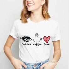 Kassen kaffee liebe drucken lustige graphic tees frauen einfache tumblr kleidung harajuku kawaii t shirt top weibliche t-shirt custom t-shirt