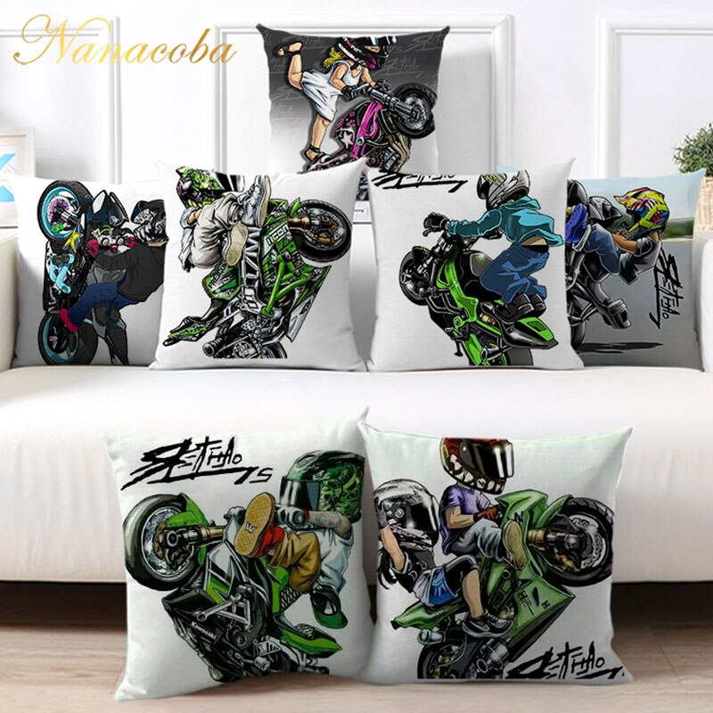 45x45cm Cartoon Sport Motorcycle Cushion Cover Mobile Bike Pillow Covers Pillow Case for Sofa Chairs Home Decor Throw Pillowcase