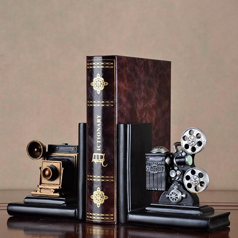 Eleg-retro Cámara sujetalibros película proyector negro plata proyecto coleccionista librería creativa Vintage joyería estudio habitación