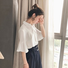 2021 Spring Chiffon Shirt Women's Young Korean Style Fashionable Stylish Half Sleeve Professional Et
