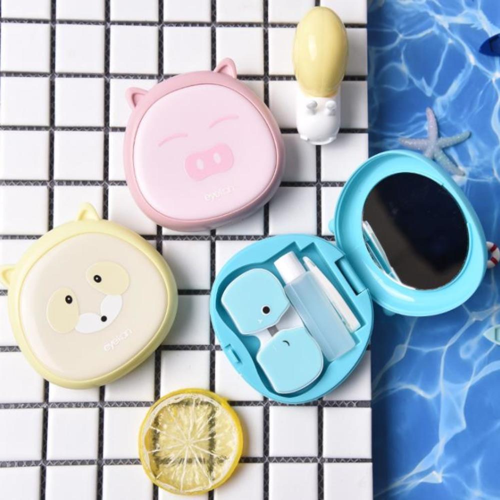 Portable étui à lentilles de Contact conteneur Kit de voyage ensemble support de rangement miroir boîte bonbons couleur trempage étui femmes comme image dessin animé
