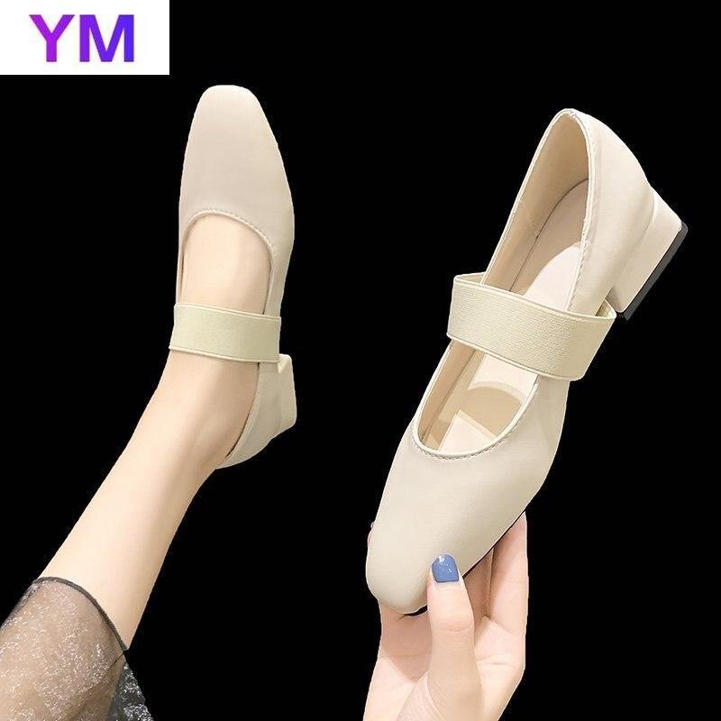 Zapatos De tacón alto con punta cuadrada para Mujer, calzado con hebilla en el tobillo, con correa, para vestido De fiesta, con Plataforma, 2021